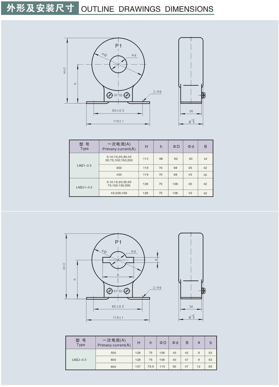 LMZJ1-0.5型u赢电竞怎么样u赢电竞返现外形及安装尺寸1